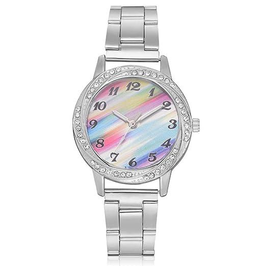Relojes de Mujer 2018 Plateado Elegantes Pulsera de Diamantes Imitación por ESAILQ: Amazon.es: Relojes