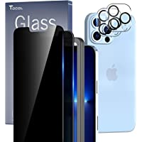 TOCOL 4 Pack Compatible with iPhone 13 Pro Max 5G 6.7 inch - 2Pcs Privacy Tempered Glass Screen Protector + 2Pcs Camera…