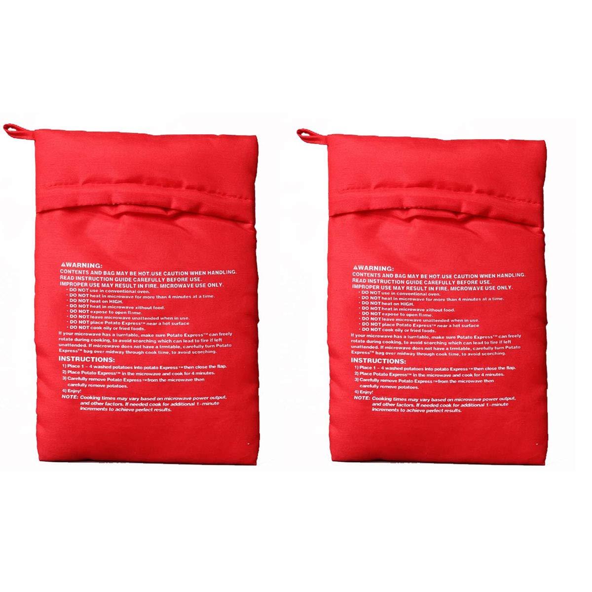 Bangbuy Microwave Potato Bag, 2 Pack of Reusable Microwave Cooker Bag Express Baked Pouch Potato Bag, Red