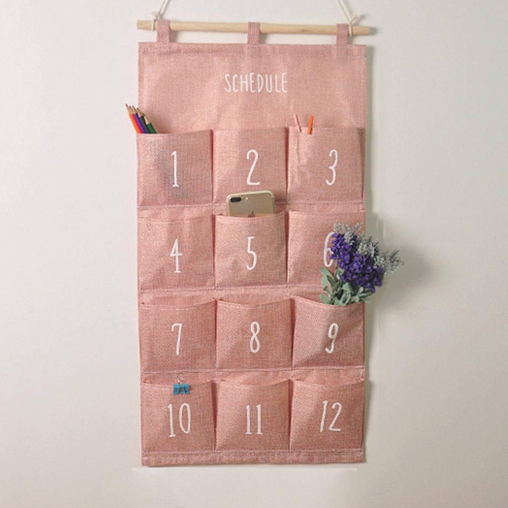 Home Storage Hanging Bag Waterproof Cotton Linen Fabric Wall Hanging Wardrobe/Door Behind Cute Wall Storage Bag, Pink, B