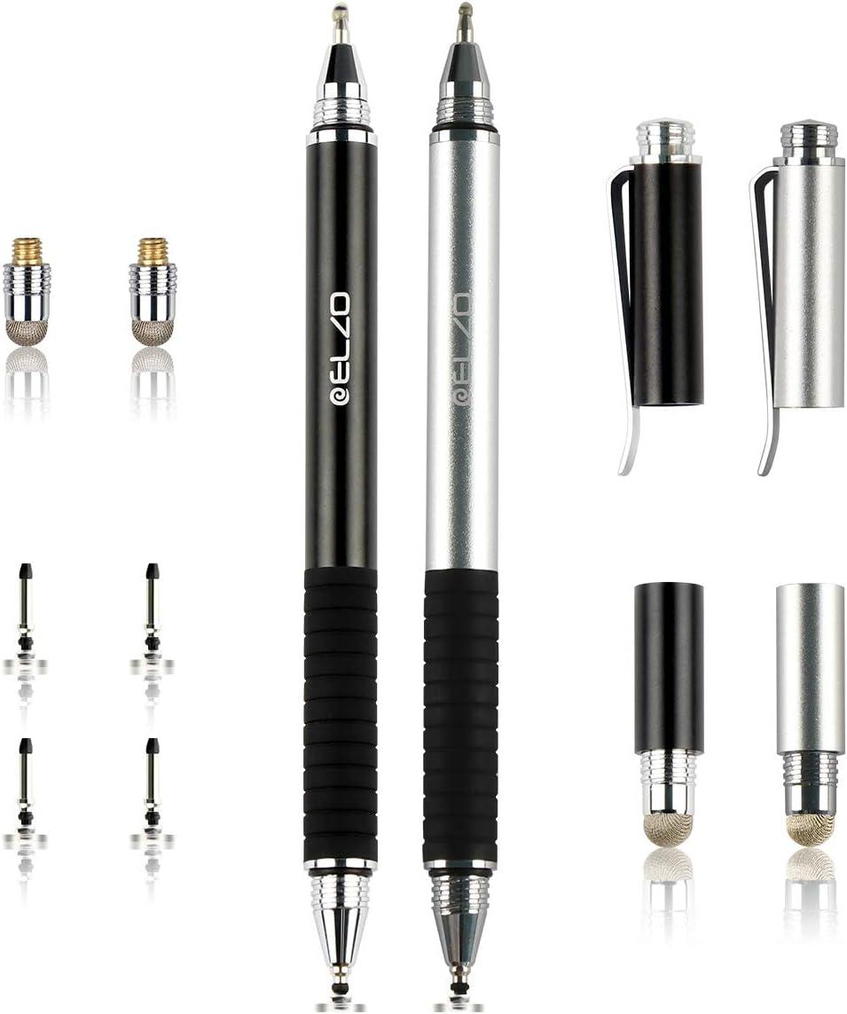 Elzo 2PCS Bolígrafos Digitales 3-en-1 Stylus Pen con Bolígrafo y 4 Discos Reemplazables Consejos de 2 Consejos de Fibra de Reemplazo para Surface Pro/Tablet/iPad Pro/Kindle Fire (Negro & Plata)