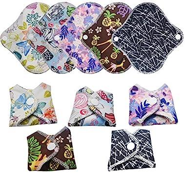 6 pi/èces serviette hygi/énique coussin menstruel lavable au charbon de bambou femmes soins serviettes hygi/éniques r/éutilisables absorbantes
