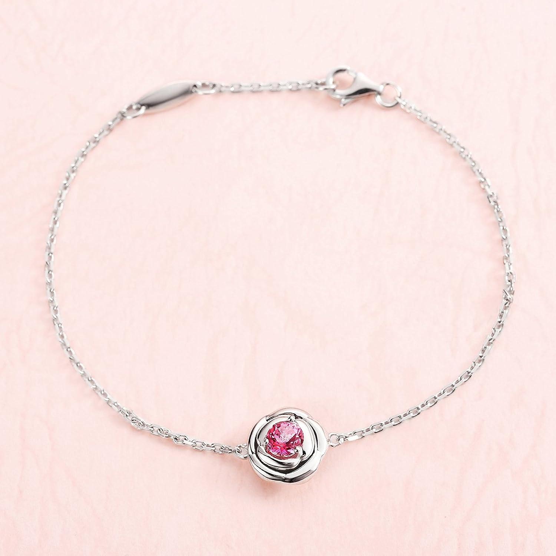 Carleen 925 Sterling Silver Genuine Round Cut Topaz Rose Flower Shape Bracelet for Women Girls lLBxuS2Sed