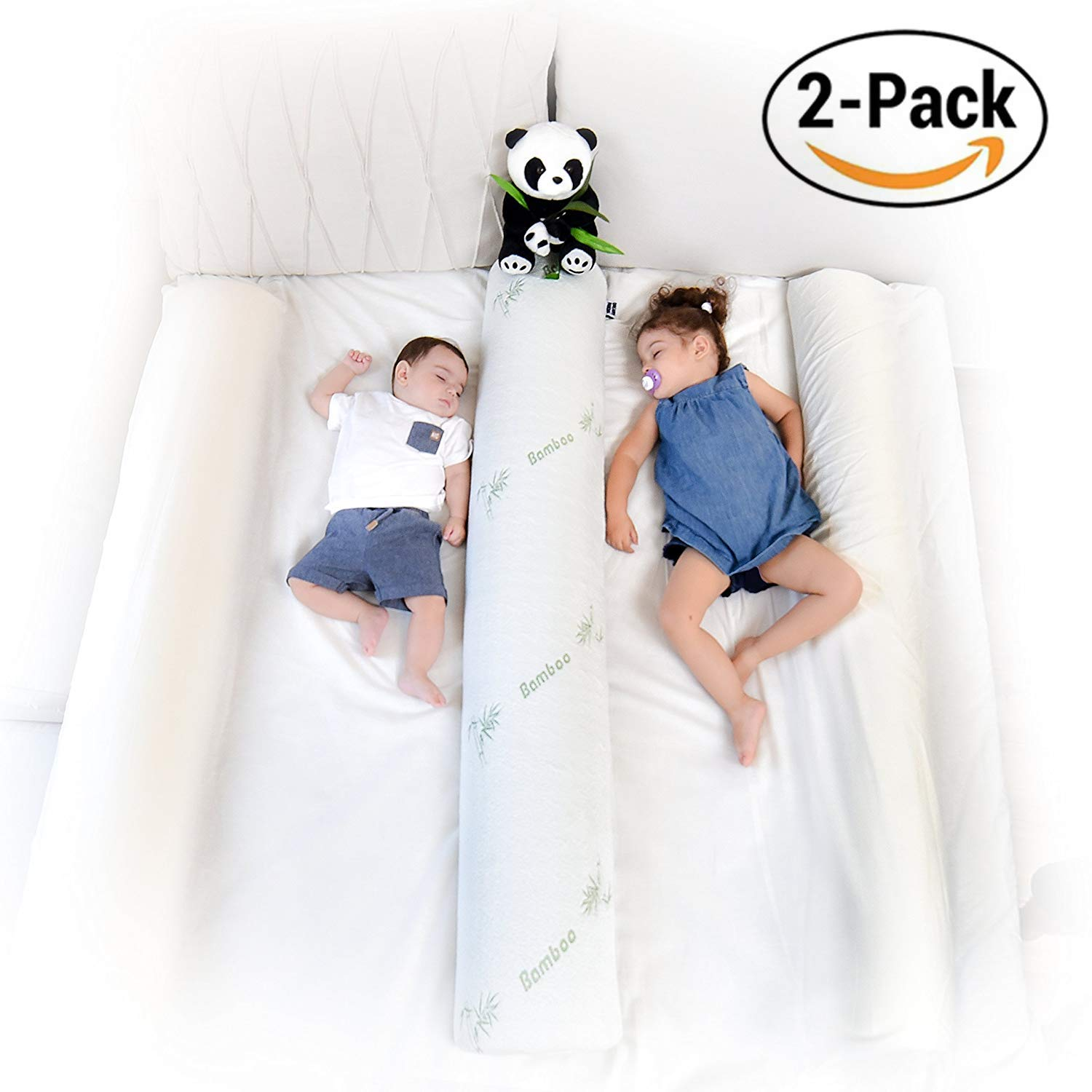 DreamyPanda Toddler Bed Rail Bumper/Foam Guard for Bed - Large - Side Rail with Bamboo Cover - Pillow Pad for Toddlers, Kids [2-Pack - White Bamboo]
