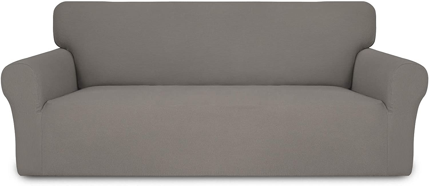Easy-Going Thickened Stretch Slipcover, Sofa Cover, Furniture Protector with Elastic Bottom, 1 Piece Couch Shield, Sturdy Fabric Slipcover for Pets,Kids,Children,Dog (Sofa,Taupe)