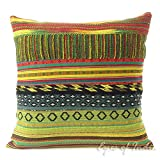 Eyes of India - 16'' Yellow Dhurrie Patchwork Throw Pillow Couch Sofa Cushion Cover Colorful Boho Bohemian IndianCover Only