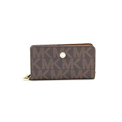ab8817ea2c62 Michael Kors MK Signature Saffiano Slim Tech Wristlet Brown Luggage ...