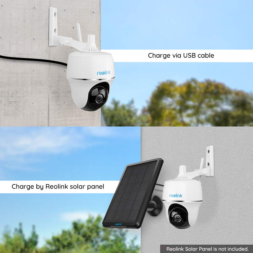 C/ámara IP Argus PT 1080p FHD WiFi con Inclinaci/ón Panor/ámica Audio Bidireccional Visi/ón Nocturna C/ámara de Seguridad Exterior con Bater/ía Recargable Alimentada por Energ/ía Solar