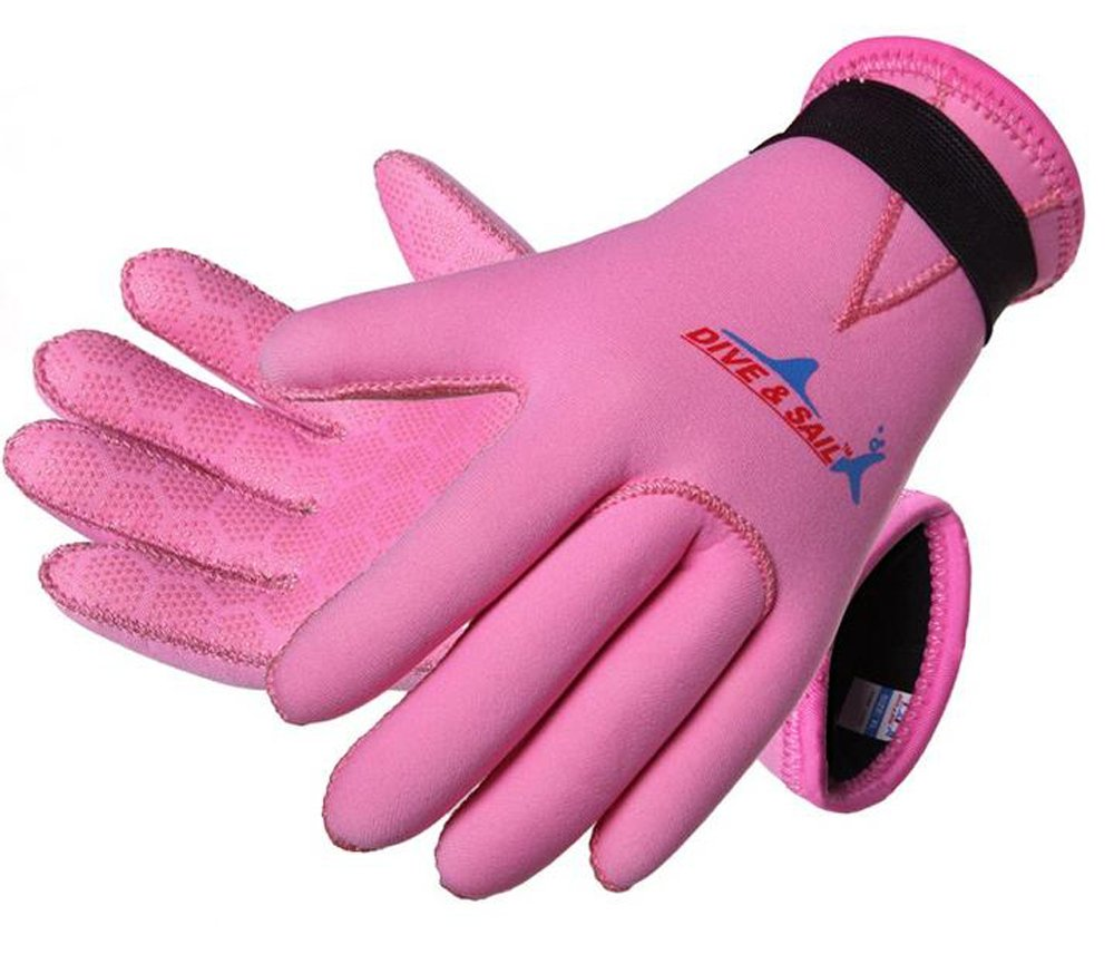 Dive & Sail 3mm Kids Neoprene Skid-proof Wetsuit Gloves for Surf Snorkeling Diving (Pink, L) by DIVE & SAIL