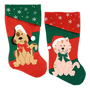 18 Inch 2 Pack: Christmas House Christmas Pet 1 Dog and 1 Cat Stockings