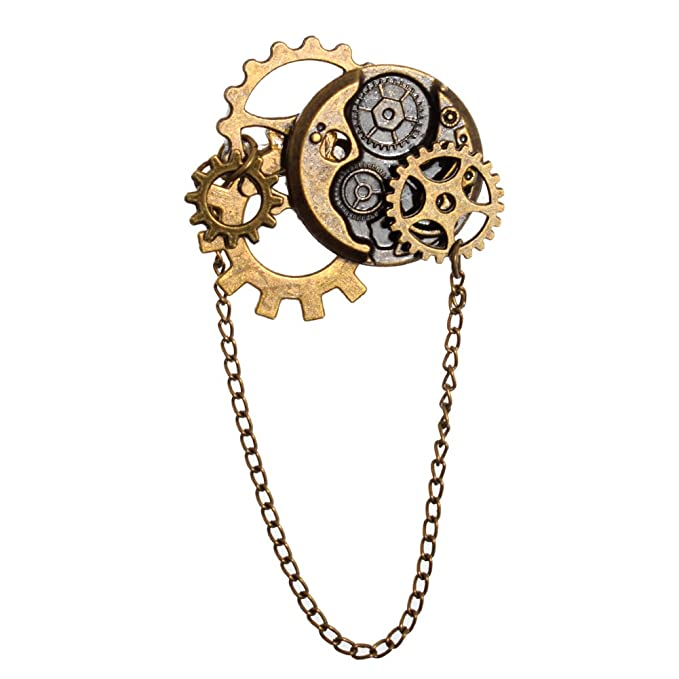 Steampunk Jewelry – Necklace, Earrings, Cuffs, Hair Clips BLESSUME Unisex Steampunk Brooch Lapel Pin $10.99 AT vintagedancer.com