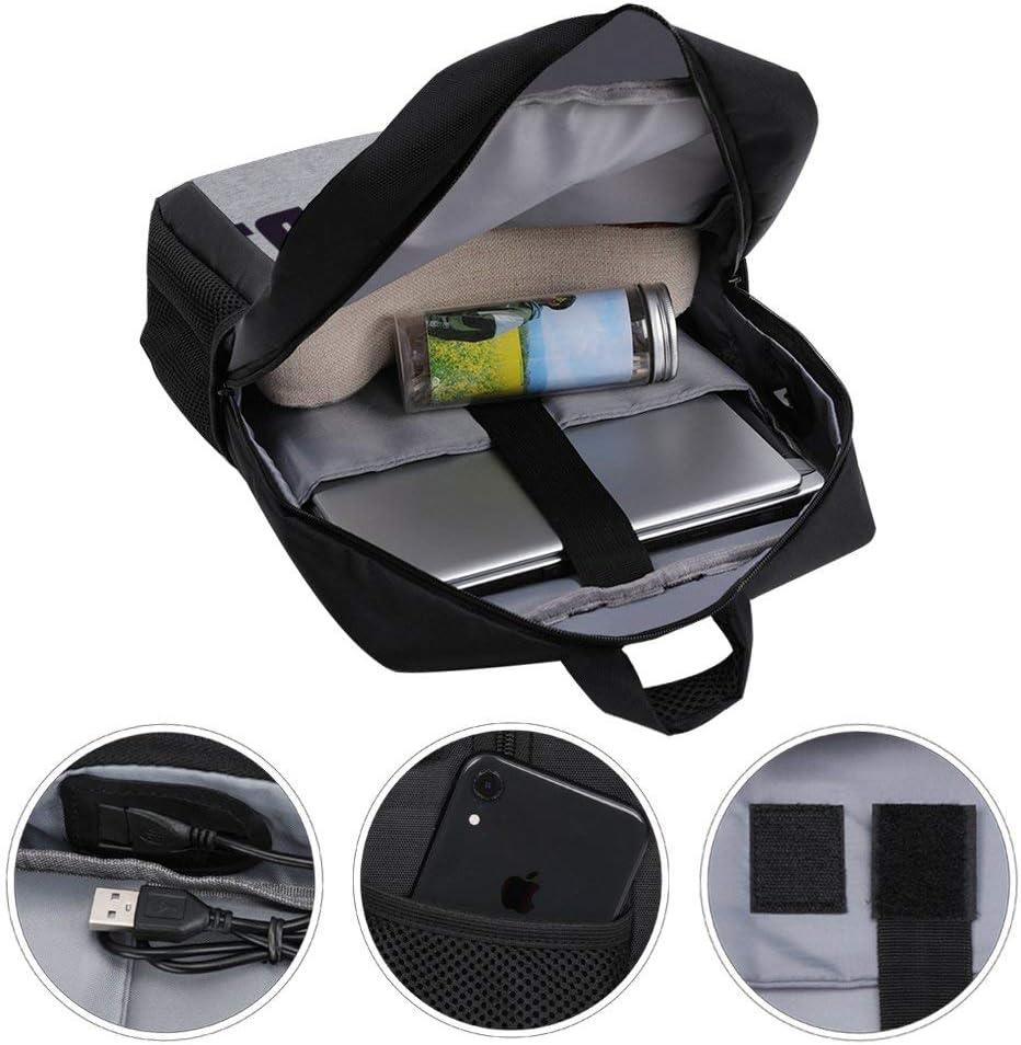James Bond Half Head Text Backpack Daypack Rucksack Laptop Shoulder Bag with USB Charging Port