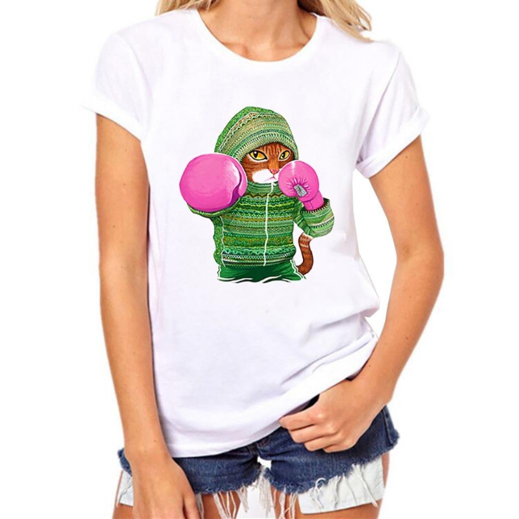 Quistal Short Sleeve Shirts for Women Teen Girls Plus Size Animal Print Tees T Shirt Blouse Tunic Tops