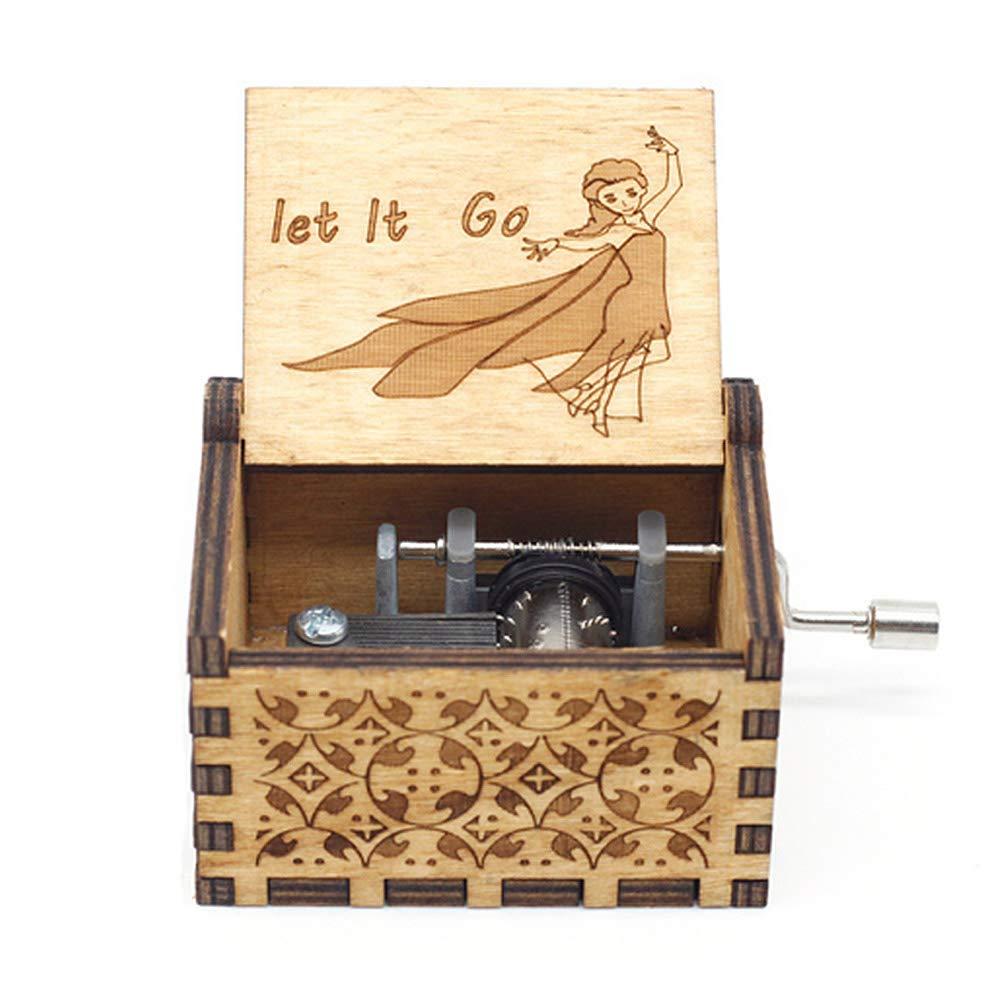 Jiali Wooden Music Box Classical Engraving Hand-Cranked Wooden Music Box Star Wars Music Box Game of Thrones Music Box Music Theme De Musica A Birthday Present
