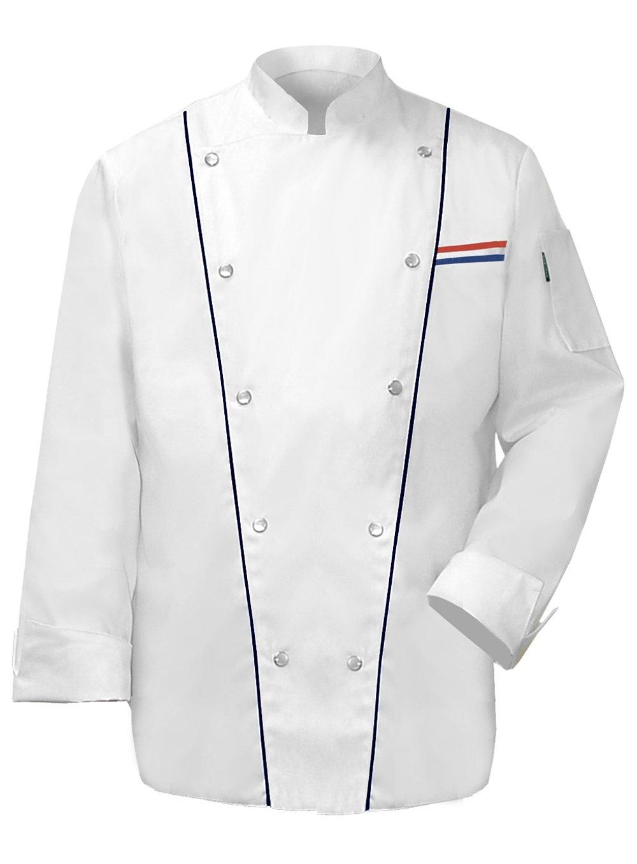 Newchef Fashion Royal Men Chef Coat Black Trim 2XL White