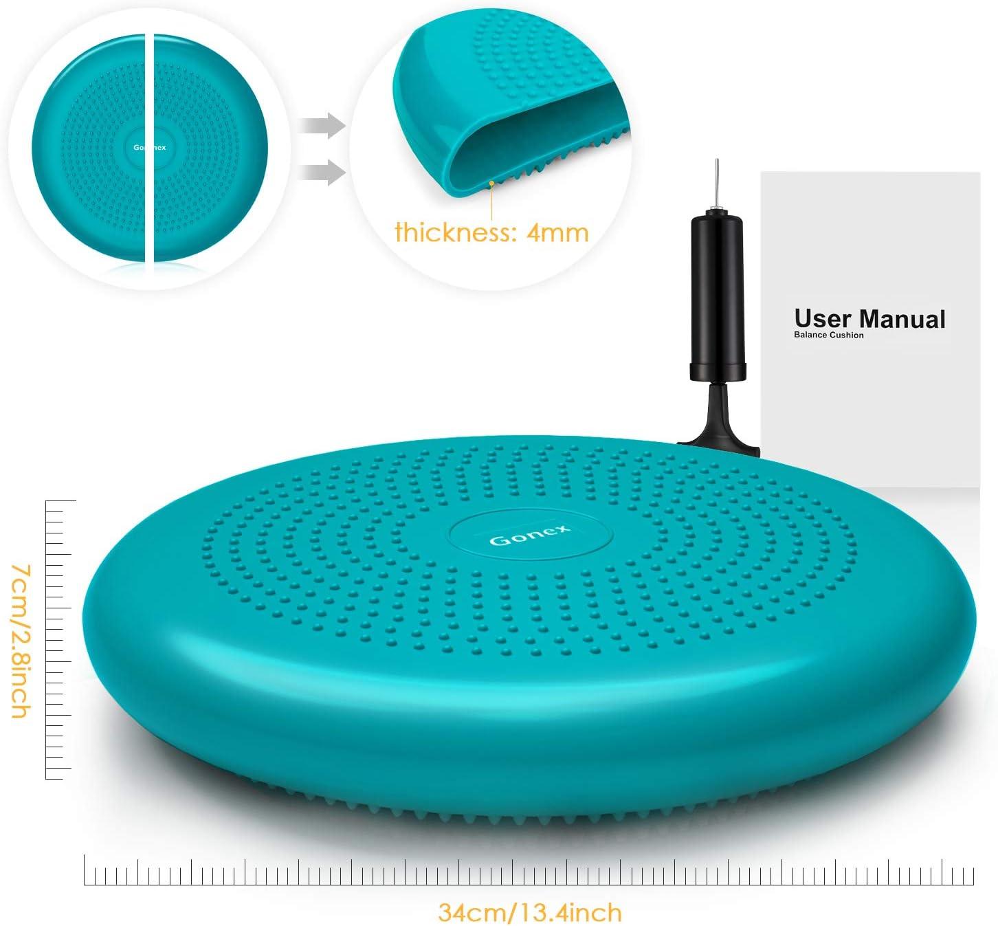 Gonex Coussins de stabilit/é Equilibre Balance Antid/érapant Gonflable avec Pompe pour Pilates Stretching Travailler l/équilibre Le Dos