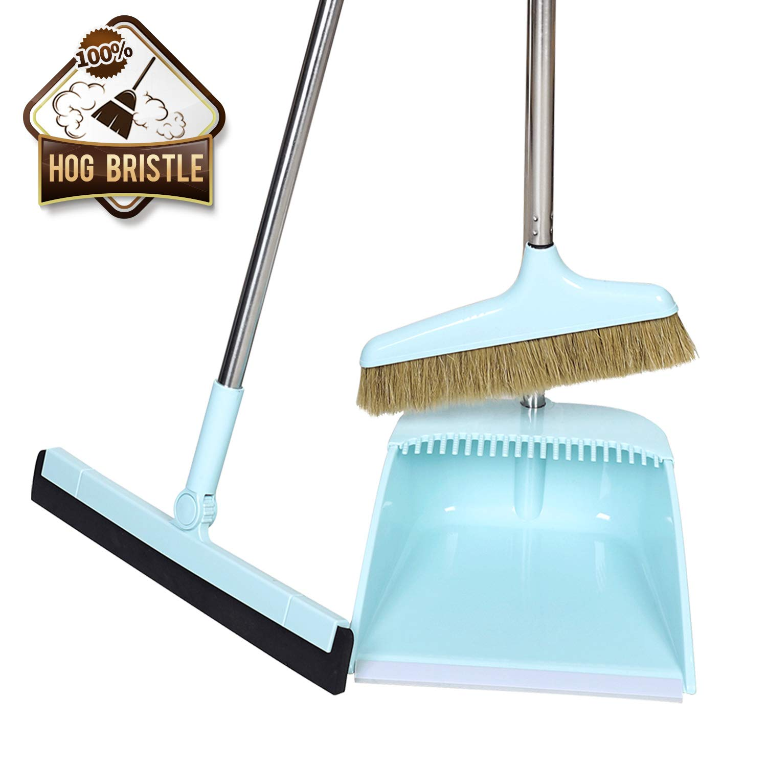 Midoneat Broom and Dustpan Set Squeegee 3 Packs Good Grips Sweep Set with Long Handle Natural hog Bristle Broom Rubber Lip Dustpan with Comb 180° Rotation Wiper .Sweeping for Kitchen Lobby Office