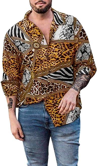 Overdose Camisa De Manga Larga con Estampado De Leopardo Diario Informal Suelta De Otoño para Hombre Superior Cómoda Transpirable Camisas Hombre Hippie T Shirt Hombre: Amazon.es: Ropa y accesorios