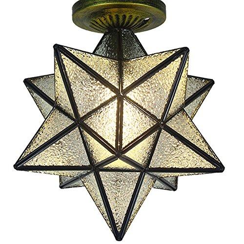 Dome 3 Light Chandelier (AOKARLIA Glass Dome Lights Pentagram Bedroom Ceiling Lamp, Modern Corridor/Porch Lamp -E27,B,40Cm)