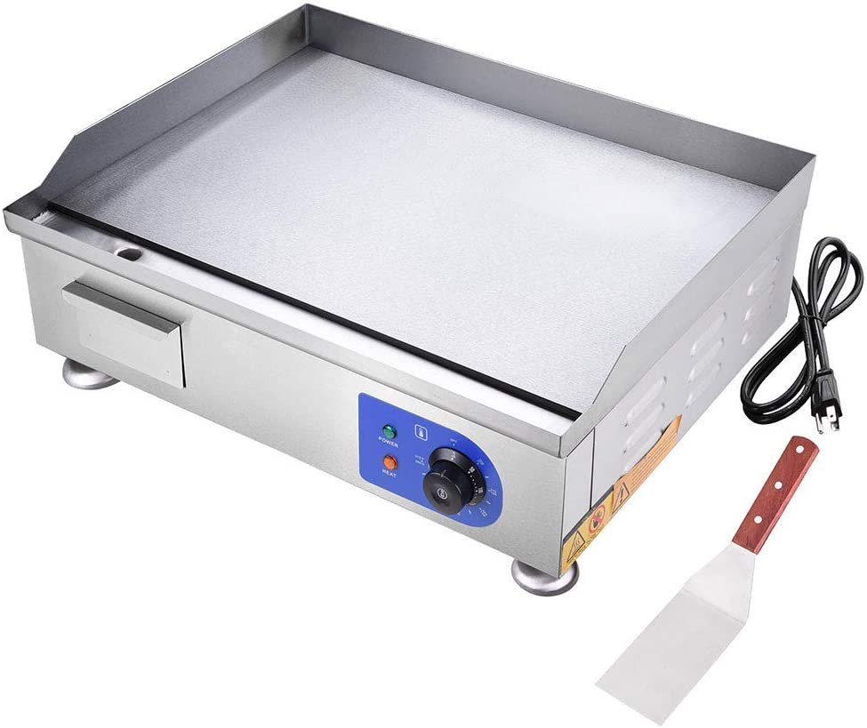 """WeChef 2500W 24"""" Commercial Electric Countertop Griddle Flat Top Grill Hot Plate Stainless Steel Adjustable Temp"""