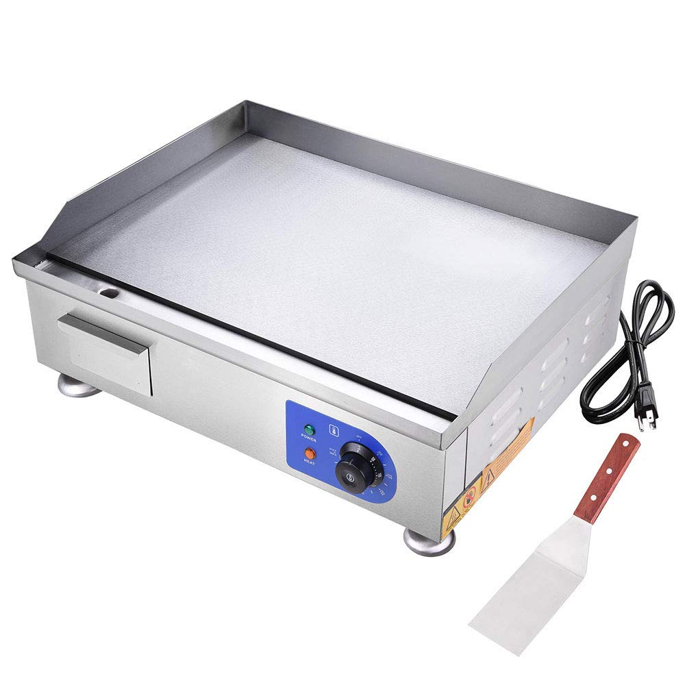 WeChef 2500W 24'' Commercial Electric Countertop Griddle Flat Top Grill Hot Plate Stainless Steel Adjustable Temp