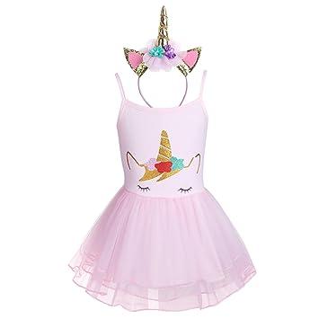 Freebily Baby Girls Cartoon Romper Princess Tutu Dress With Headband
