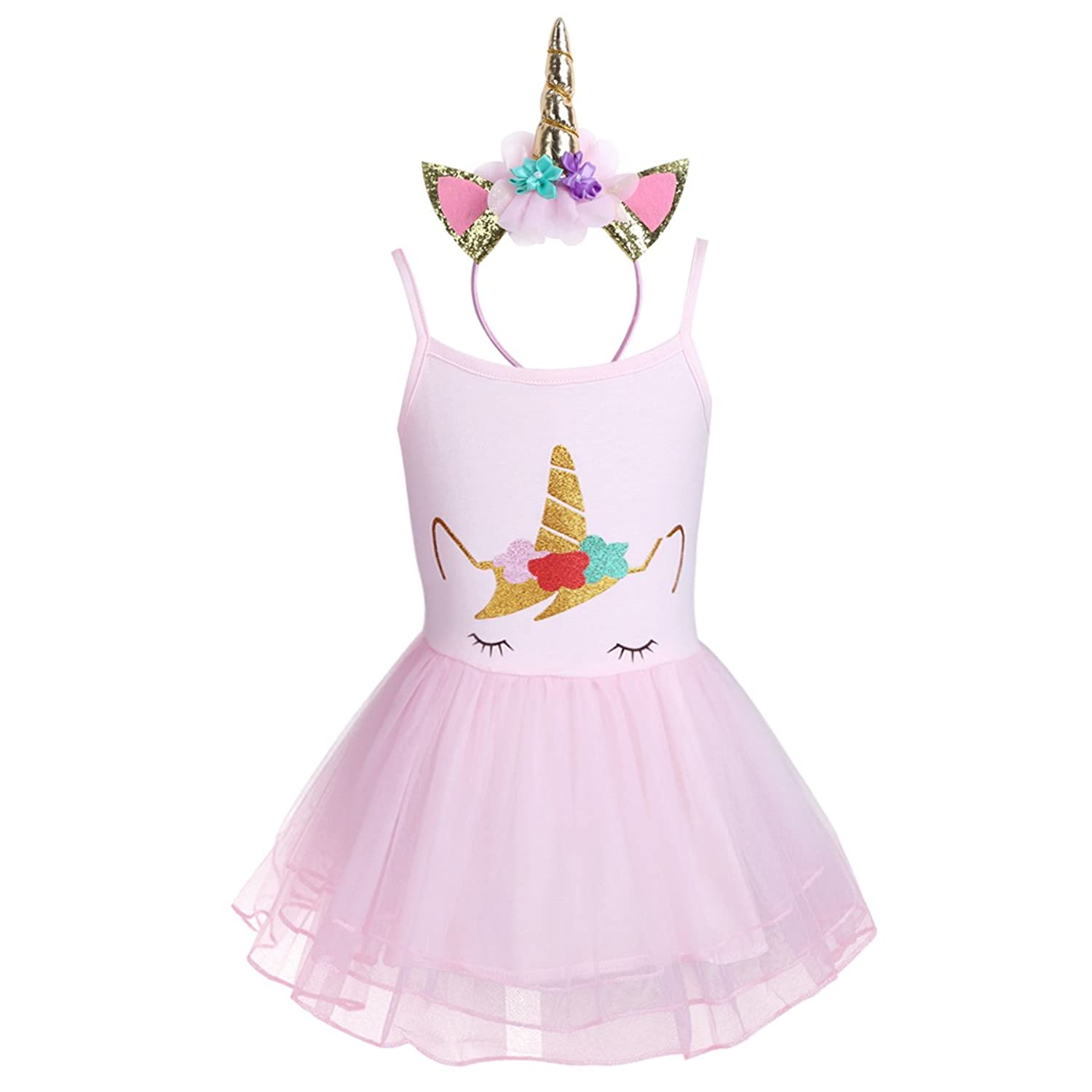 Amazon.com: iEFiEL Baby Girls Unicorn Birthday Outfit Spaghetti Straps Tutu Dress With Headband For Festival Pageant Party Costume: Clothing