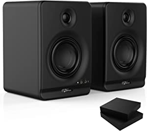 """Donner Studio Monitors 4"""" Near Field Studio Monitors with Professional CSR Bluetooth 5.0, 2-Pack Including Studio Monitor Isolation Pads (Dyna4 Black)"""