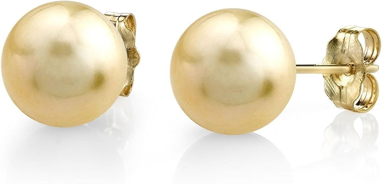 11-12mm Golden South Sea perlas bonitos Juego de pendientes de tuerca en dorada de 14 - Calidad managed