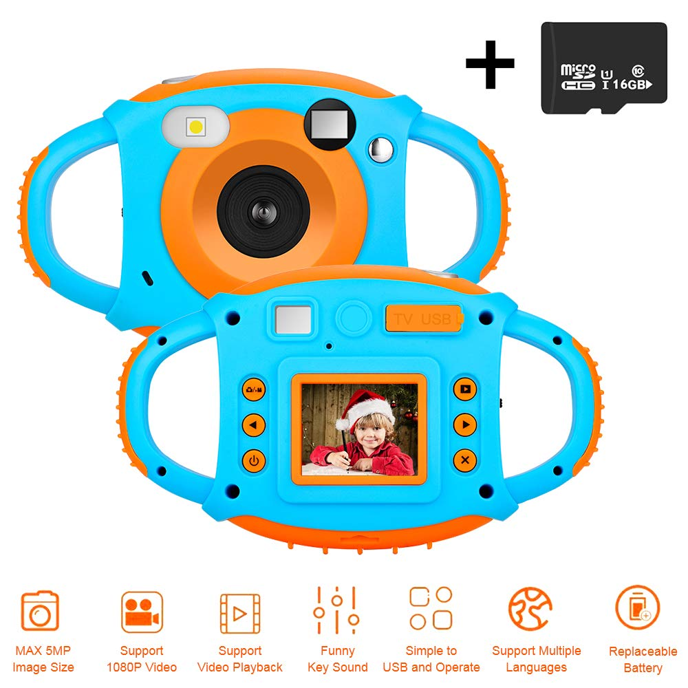 DIWUER Kids Camera, Children Mini Video Camcorder, 1.77' 1080P HD 5MP Toddler Digital Camera, Creative Gift for Boys Girls, 16GB SD Card Included