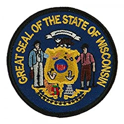 """State Seal Patch Round 3"""" Diameter, Embroidered Iron On Or Sew On Seal Patch Flag Emblem (Wisconsin State Seal)"""
