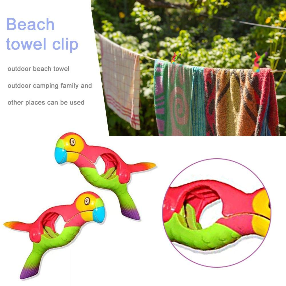 Sliveal Parrot Towel Clips Large Novelty Sunbed Beach Pegs Heavy Laundry Clothes Sun Bed Lounger For Beach Pool Lounge Chair Holder boosted