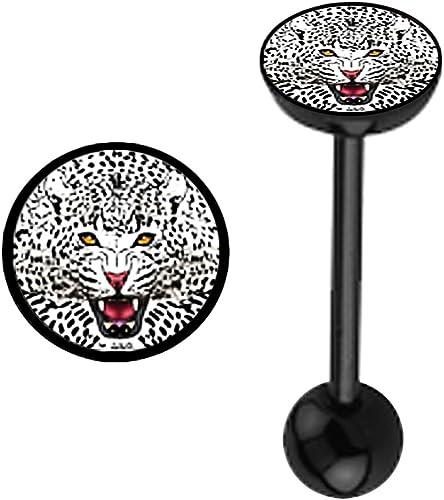 amazon com white cheetah cat logo flat top black bioflex plastic flexible barbell tongue ring piercing jewelry bar 14g jewelry amazon com