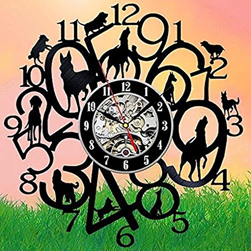Jedfild The lovely art wall clock digital and dogs.