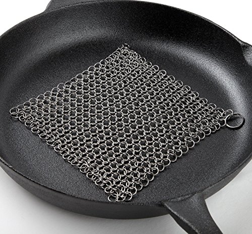 Cast Iron Cleaner Scrubber XL 8x6 Inch 316L Stainless Steel Cleaning Set For Cook Pan Scraper Grill With Two Durable Polycarbonate Scrapers + Silicone Red Chainmail Pan Handle Holder By ItayKitchen by ItayKitchen (Image #3)