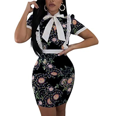 c7b3a61e4c6b MS Mouse Women Short Sleeve Tie Neck Floral Print Bodycon Midi Dress Black  Small