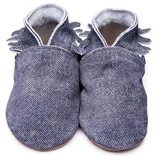 Inch Blue Mädchen/Jungen Schuhe für den Kinderwagen aus luxuriösem Leder - Weiche Sohle - Mokassins Jeansblau