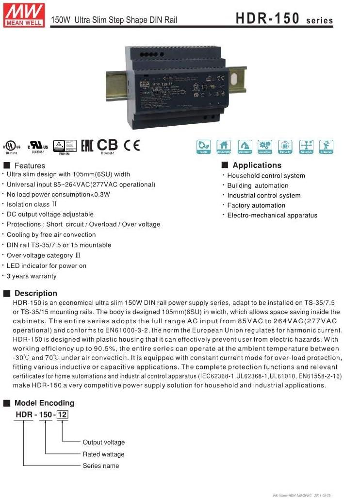 Mean Well HDR-150-15 15V 10A 143W Ultra Slim Step Shape LED DIN Rail