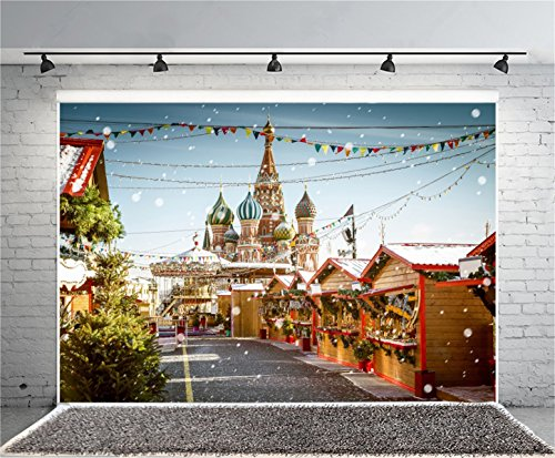 Aofoto 8X6ft Holiday Decorated Street Photography Background Christmas Backdrop Snowflake Castle Church Xmas Cabin Shop Kid Lover Girl Portrait New Year Photoshoot Studio Props Video Drape Wallpaper