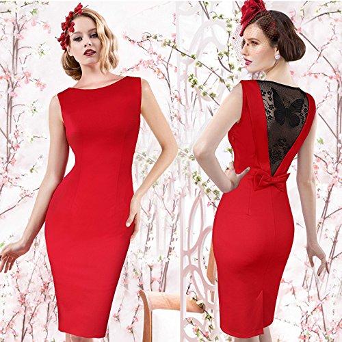 Dress Pencil Slim Bodycon Sheath Lace Womens LIYIZO Casual Red Plus Size Fashion gERwA