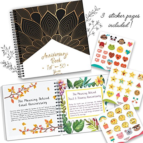 Anniversary Book, A Hardcover Wedding Memory Album to Document Wedding Anniversaries From The 1st To 50th Year. Cute Couple Gifts. Personalized Marriage Presents For Husband & Wife Comes With Stickers -