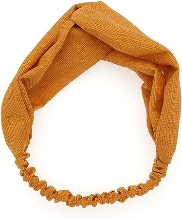 KAEHA fd-0001-07 Nudo Bufanda Cruzada Trenzada Yoga el/ástica Tela para Mujer ni/ña Diadema Banda para el Cabello de Color Liso Amarillo