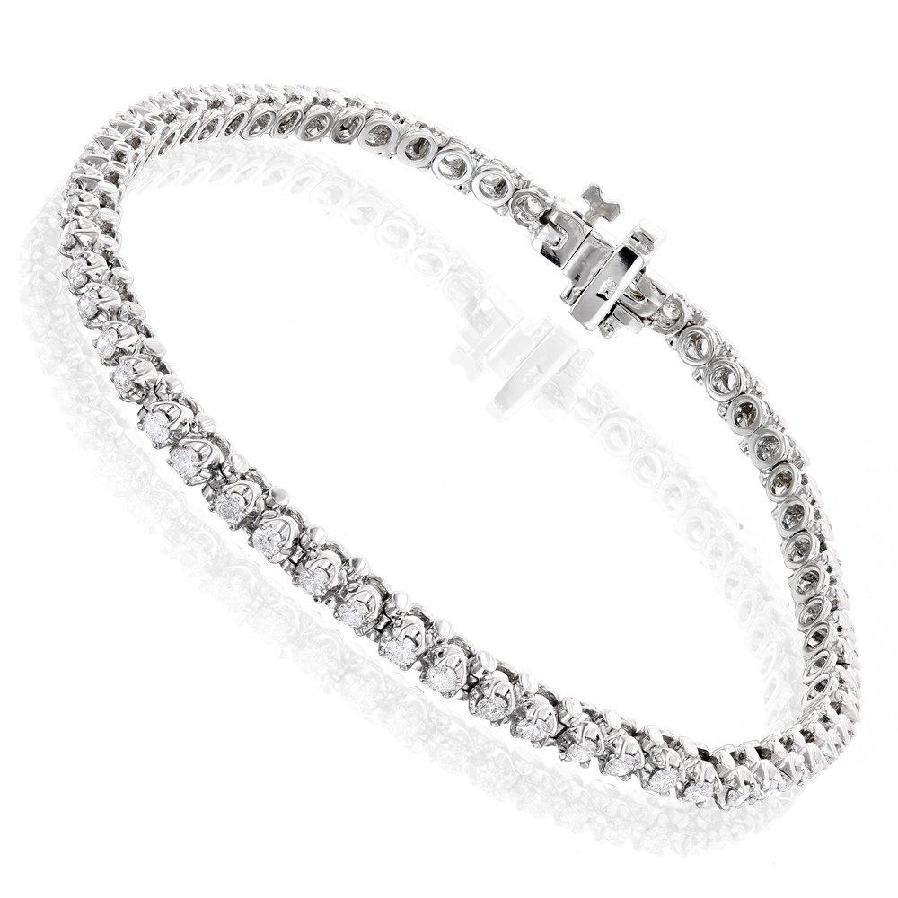 Luxurman Unisex 14k Round Natural 1.5 Ctw Diamond Tennis Bracelet (White Gold)