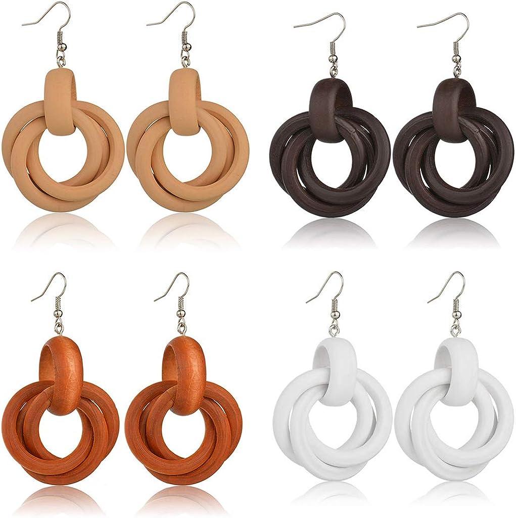 European Style Party Fashion Women Circle Shape Ear Stud Wooden Earring Jewelry