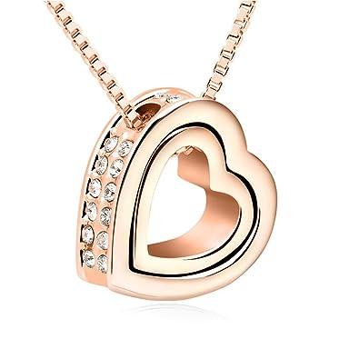 QUADIVA C! Damen Halskette Herzkette Kette mit Anhänger Herz (Farbe ...