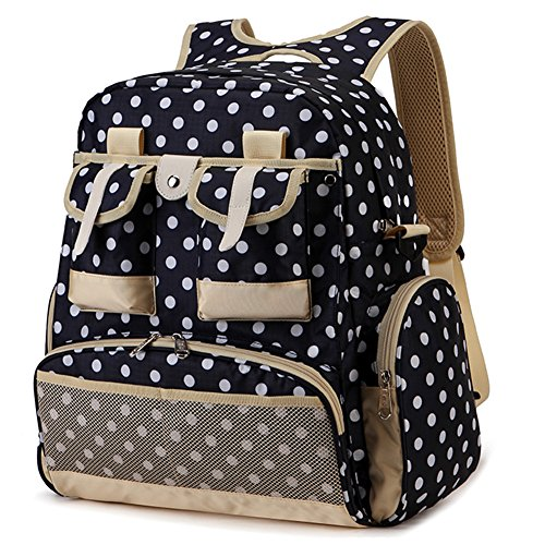 All in One Diaper Bag Backpack Waterproof Fabric Baby Bag for Mom and Dad Fit Stroller with Insulated Pocket - Large Capacity 12.6 X 13.4 X 4.8 Inch, 15 Pockets, Navy