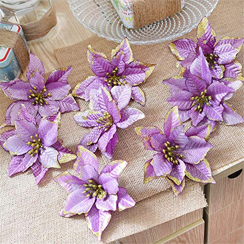 Euone  Christmas Flowers Clearance , 8Pcs Artificial Fabric Flower Glitter Wedding Party Decor Christmas Xmas Tree Decoration (Purple)