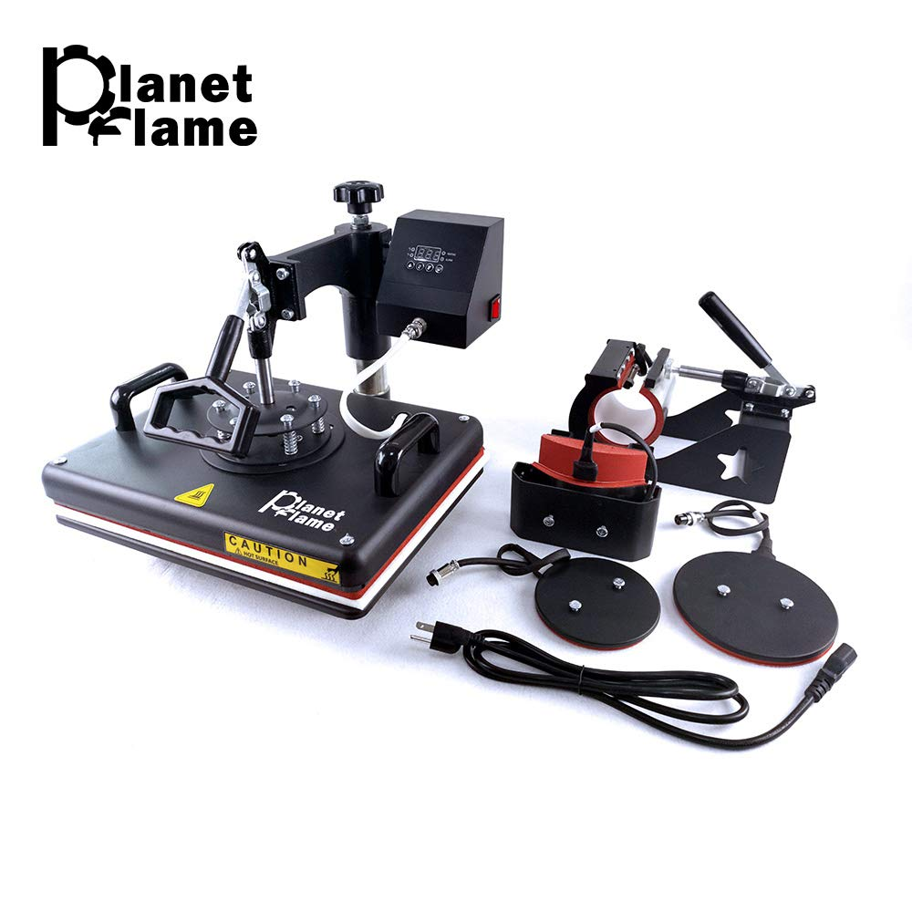 PlanetFlame Industrial-Quality CE 12''x15'' Combo 5 in 1 Heat Press Machine, Sublimation DIY Hat/Mug/Plate/Cap/T-shirt and more, Swing-away Digital Multifunction Heat Transfer Presses (5in1, 12x15 inch)