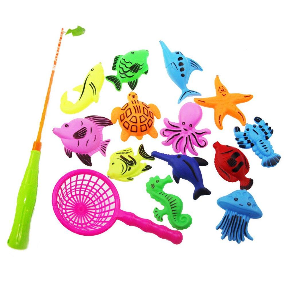 Bad Spielzeug Angeln Spiel mit schwimmenden Fisch und Angelruten & Fischnetz EQLEF®