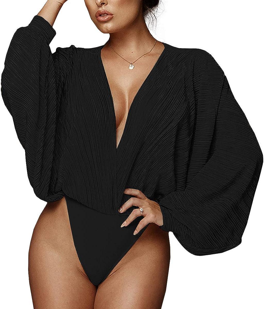 Tengo Women Long Sleeve Jumpsuits V Neck Pleated Loose Romper Bodysuits Shirts Tops